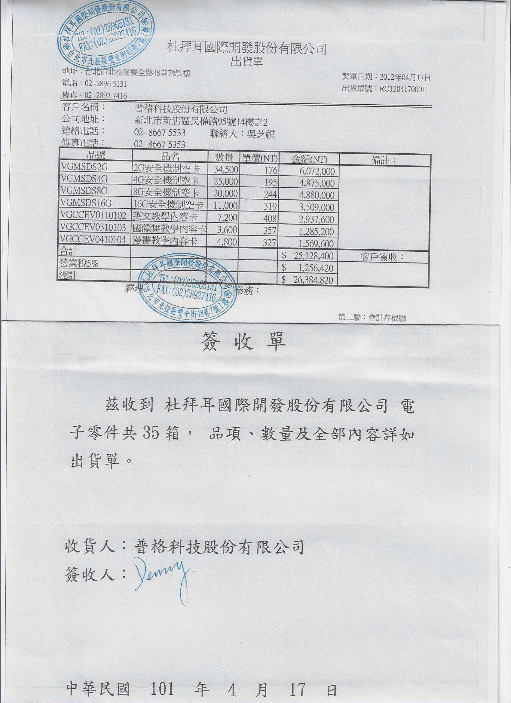 圖片說明:張芳源提供與普格公司之出貨及簽收單,證明是真交易而非假買賣,但卻不被法官採信,令他不解喊冤。